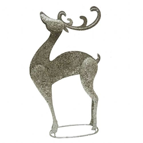 Glittered Champayne Silver Standing Large Metal Reindeer - Large Christmas Reindeer Ornament